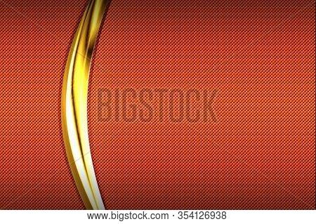 Orange Carbon Fiber And Gold Curve Chromium Frame. Metal Background And Texture. Material Design. 3d