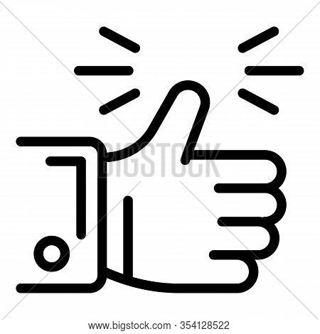 Goal Thumb Up Icon. Outline Goal Thumb Up Vector Icon For Web Design Isolated On White Background