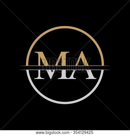Initial Ma Letter Logo Design Vector Template. Gold And Silver Letter Ma Logo Design