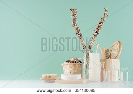 Traditional Bathroom Interior With Beige Accessories For Bath - Brush, Comb, Towel, Bath Sponge, Gla