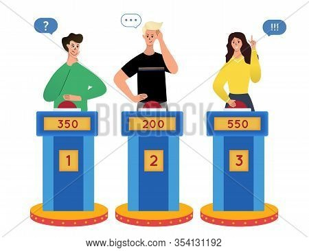 Clever Intelligent People Playing In Tv Quiz Show.  Cartoon  Isolated Male And Female Characters  Th