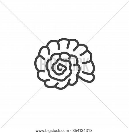 Seashell Nautilus Line Icon. Linear Style Sign For Mobile Concept And Web Design. Seashell Mollusk O