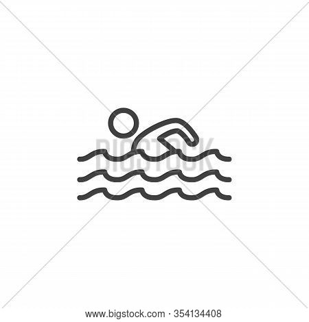Swimming Man Line Icon. Swimmer And Water Waves Linear Style Sign For Mobile Concept And Web Design.