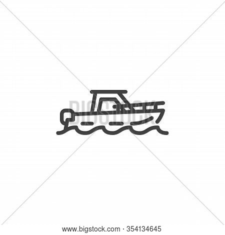 Pleasure Boat Line Icon. Yacht Linear Style Sign For Mobile Concept And Web Design. Fishing Boat Out