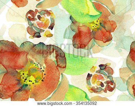 Watercolor Roses, Peony And Leaves Seamless Pattern. Exotic Swimwear Design. Hawaii Aquarelle Print.