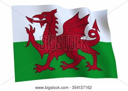 Waving Flag Of Wales Isolated On White Background, 3d Render. Wales Flag, Country Of United Kingdom