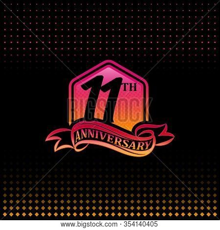 11th Anniversary Celebration Logotype Pink And Yellow Colored. Eleven Years Birthday Logo On Black B