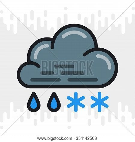 Rain With Snow Or Sleet Icon For Weather Forecast Application Or Widget. Cloud With Raindrops And Sn