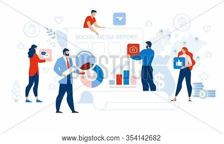 Social Media Report Management And Optimization. Tiny People Auditor, Analytics, Accountant Team Wit