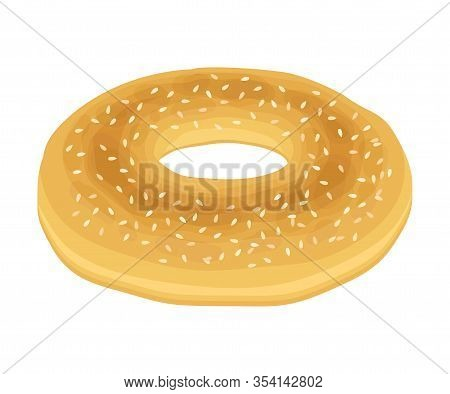 Bagel Bun With Sesame Isolated On White Background Vector Item.