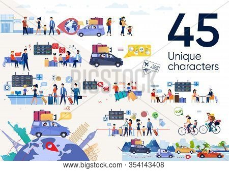 Traveling People, Family In Vacation Journey Trendy Flat Vector Scenes Set. Parents With Children Go
