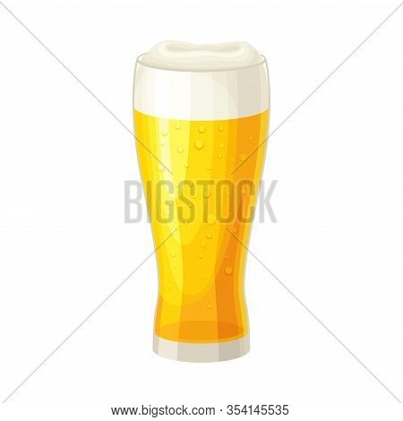 Full Glass Of Beer With Drops And Beer Foam Vector Illustration