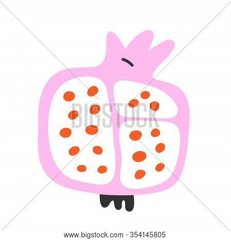 Red Ripe Pomegranate Vector Doodle Illustration On White Background. Cute Cartoon Drawing. Juicy Pom