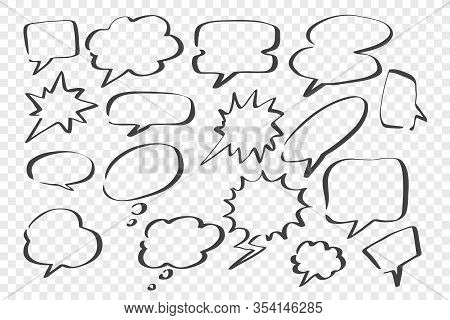 Sketch, Speech, Dream Bubbles Set. Collection Of Scattered Hand Drawn Speech Dream Bubbles. Scribble