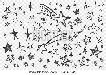 Various Hand Drawn Stars Set. Collection Of Black Doodle Scribble Stars. Pack Of Various Pen Or Penc
