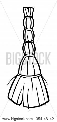 Besom For Cleaning In Black Lines On White Background