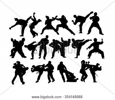 Karate Sport Activity Silhouettes, Art Vector Design