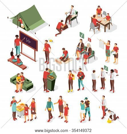 Social Inequality And Problem Of Poverty  Isometric Collection Of Scenes With Homeless  Jobless Poor