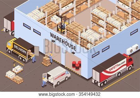 Modern Industrial Warehouse Interior With Storage Racks Facilities Exterior With Logistic Delivery S