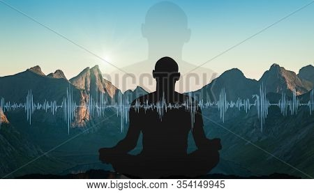 Yoga Cosmic Space Meditation Illustration, Silhouette Of Man Practicing Outdoors At Sunset