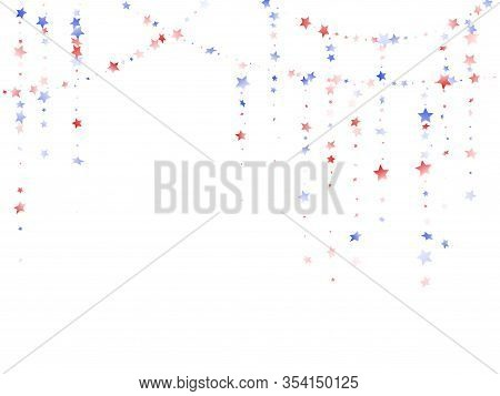 American Patriot Day Stars Background. Holiday Confetti In Usa Flag Colors For Patriot Day.  Trendy