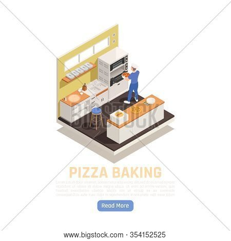 Pizza Shop Takeaway Restaurant Delivery Baking And Service Counter Isometric Composition With Settin