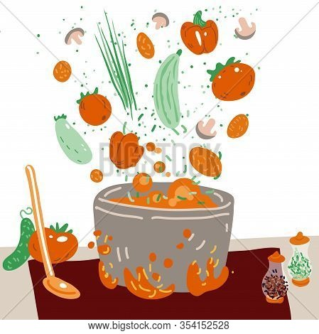 Making Vegetarian Soup Vector Concept. Pot With Bulbing Delicious Veg Food On A Fire And All Ingredi