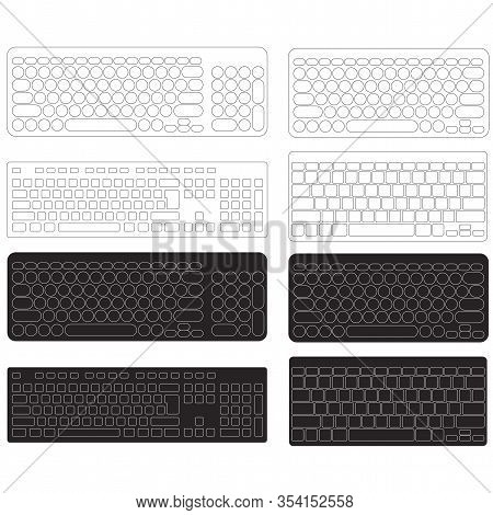 Computer Keyboard Blank Template Set Vector On White