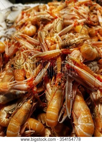Freshly Caught Scampi With Scissors And An Appetizing Red Coloration Are Offered For Sale At A Marke