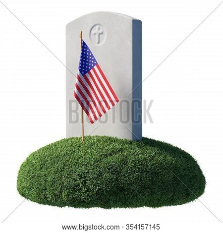 Headstone And Small American Flag On Green Grass Islet In Memorial Day Under Sunlight Isolated On Wh