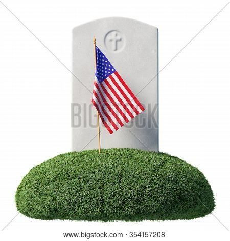 Small American Flag And Gray Blank Headstone On Green Grass Islet In Memorial Day Under Sun Light Is