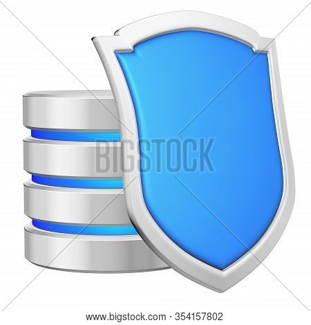 Database Behind Blue Metal Shield On Right Protected From Unauthorized Access, Data Privacy Concept,