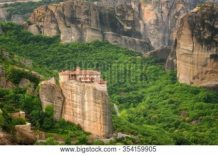 Magnificent Spring Landscape.orthodox Monastery Of Rousanou (st. Barbara), Immense Monolithic Pillar