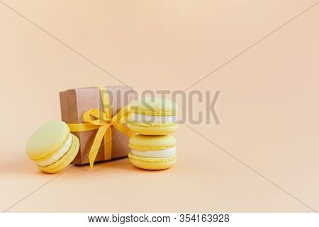yellow macarons gift image photo free trial bigstock bigstock