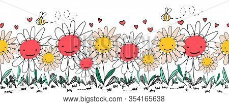 Seamless Vector Border Doodle Flowers, Bees And Ants. Kids Repeating Border. Children Style Hand Dra