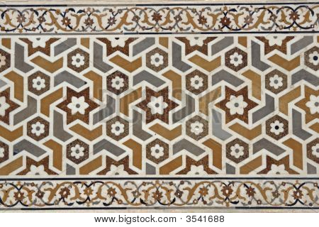 Detail of ornate inlaid white marble of the Mughal tomb (I'timad-ud-Daulah). 17th Century AD. Agra Uttar Pradesh India poster