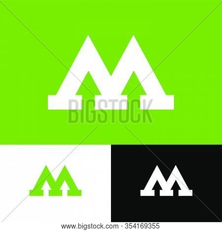 M Letter With  Arrows. M Flat Monogram. M Logo And Direction. White Monogram On An Different Backgro