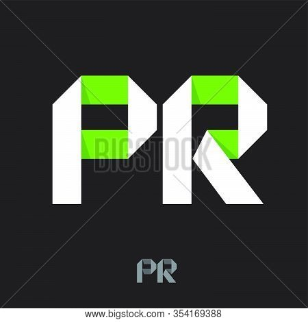 Public Relations Emblem. P R Logo. Pr Monogram Consist Of White-green Ribbons, Isolated On A Dark Ba