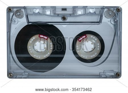 Old Vintage Cassette Tapes On White Background. Single Classic Audio Cassette Tape.