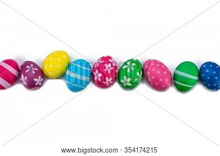 easter eggs in row white background