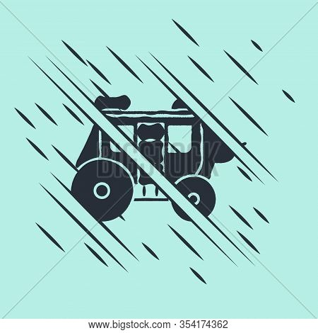 Black Western Stagecoach Icon Isolated On Green Background. Glitch Style. Vector Illustration