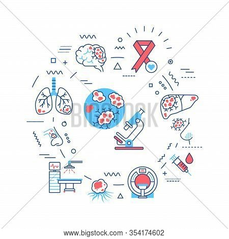 Cancer Web Banner. Oncology Medical Diagnostic. Malignant Neoplasms. Infographics With Linear Icons