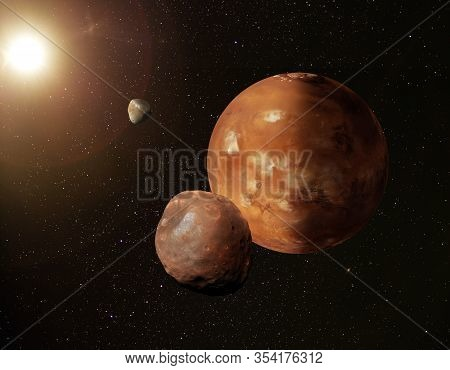 Illustration Of Planet Mars In Starry Space With Its Moons Phobos And Deimos.