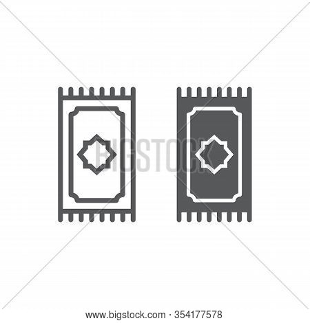Prayer Rug Line And Glyph Icon, Ramadan And Islam, Prayer Carpet Sign, Vector Graphics, A Linear Pat