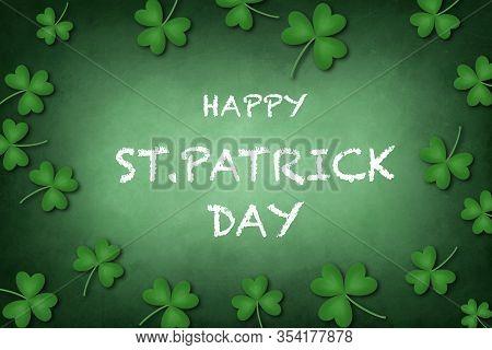 Shamrocks On Green Wintage Background A Symbol Of St. Patricks Day. Banner With Border Of Shamrocks.