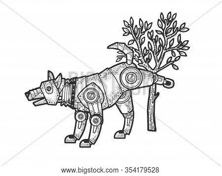 Robot Dog Pissing On Tree Sketch Engraving Vector Illustration. T-shirt Apparel Print Design. Scratc