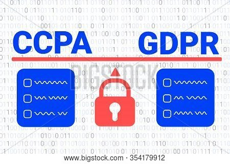 Comparison Of The Ccpa And The Gdpr. Ccpa - California Consumer Privacy Act. Vector Background. Usa