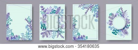 Watercolor Herb Twigs, Tree Branches, Leaves Floral Invitation Cards Set. Herbal Corners Creative Ca