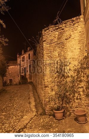 Ripatransone, Ascoli Piceno, Marches, Italy: Typical Street Of The Historic Town At Evening