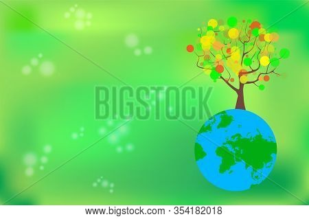 Tree And Earth Planet. Earth Day Symbol. Ecology Concept With Green Eco Earth And Tree. Eco Friendly